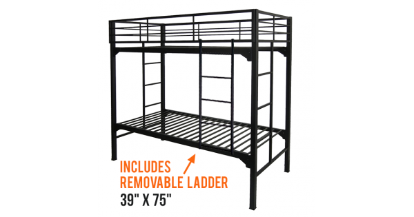 Twin Military Grade Bunk Beds Commercial Steel Construction With Ladder