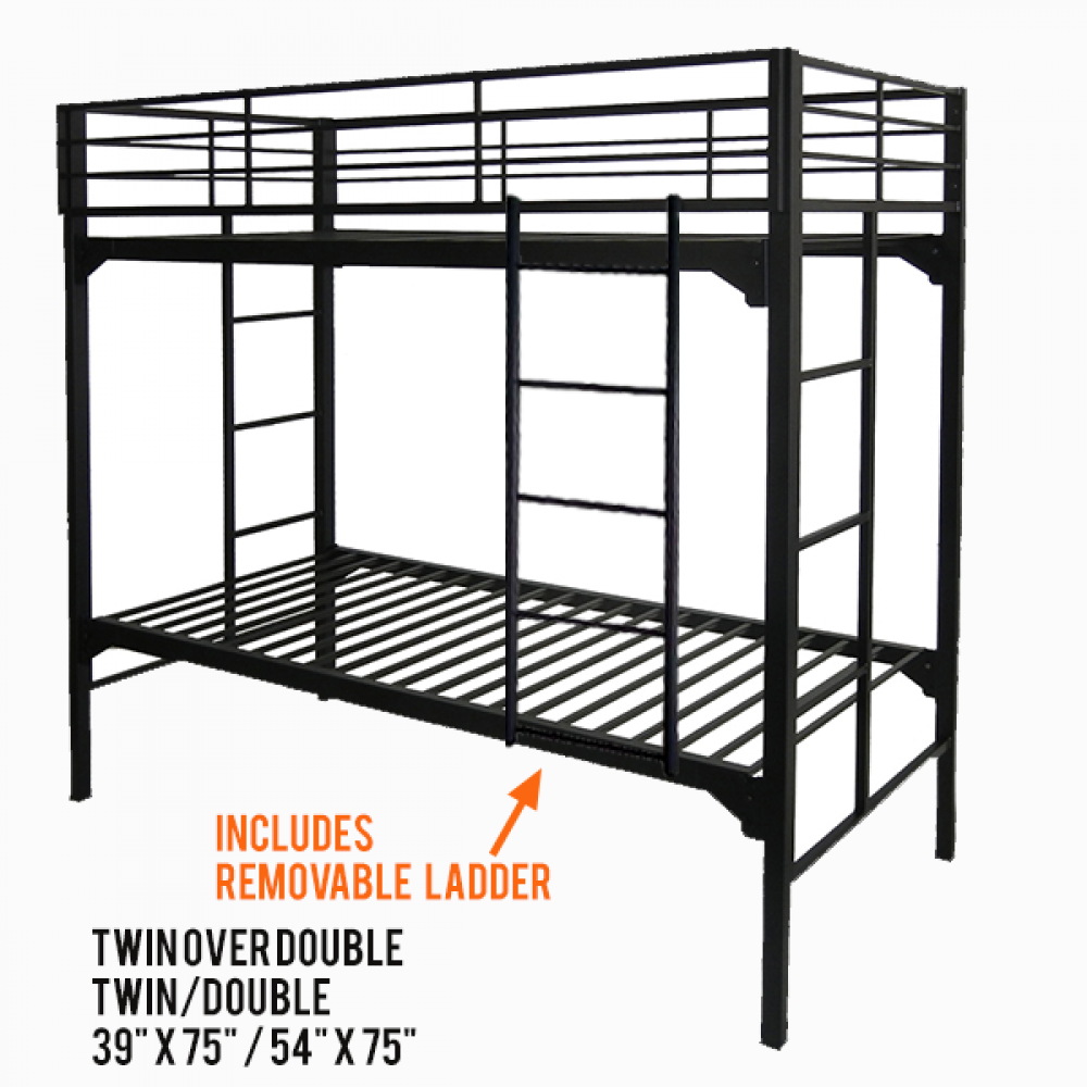 Twin Over Double Military Grade Bunk Beds Commercial Steel