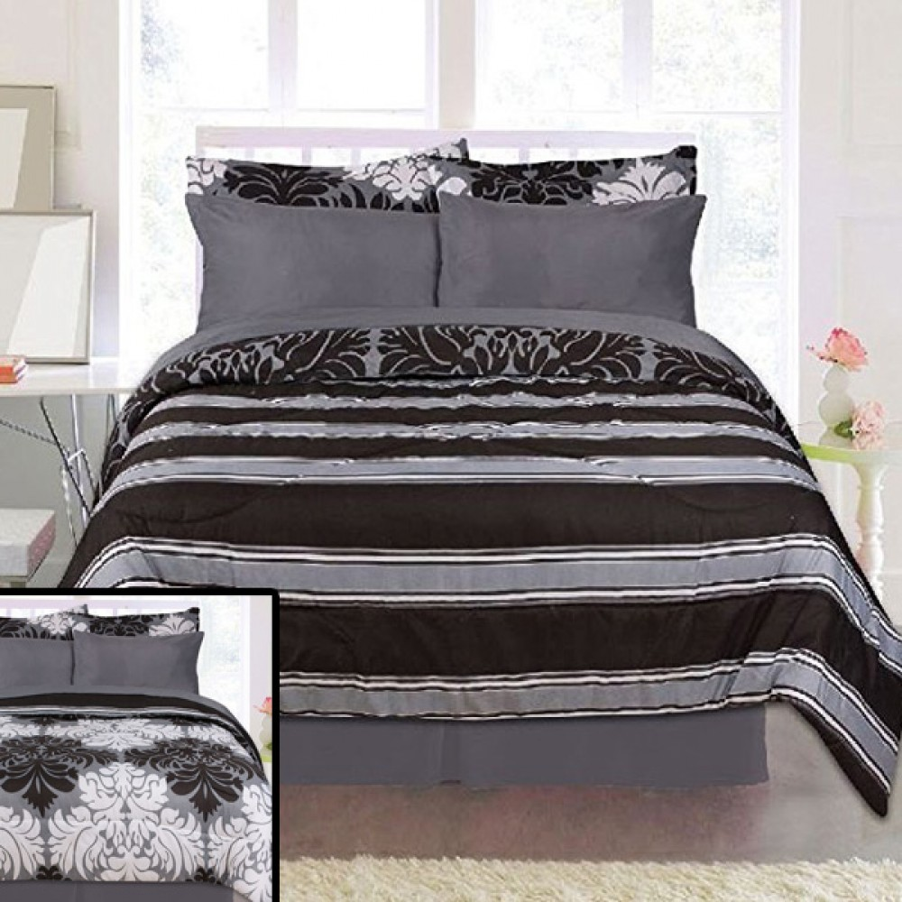 Queen Bed In A Bag 8 Piece Damask Grey Reversible Complete Set Includes  Sheets