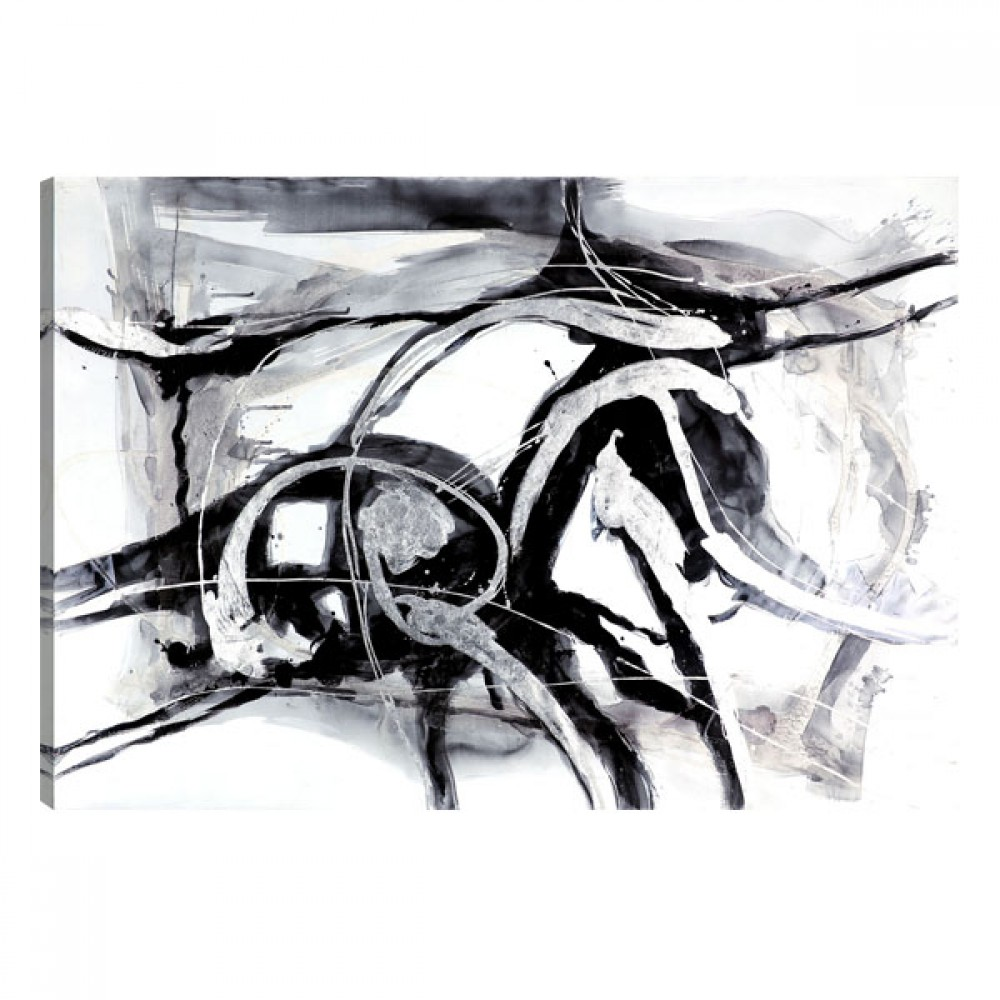 Black and white abstract oil painting wall artwork