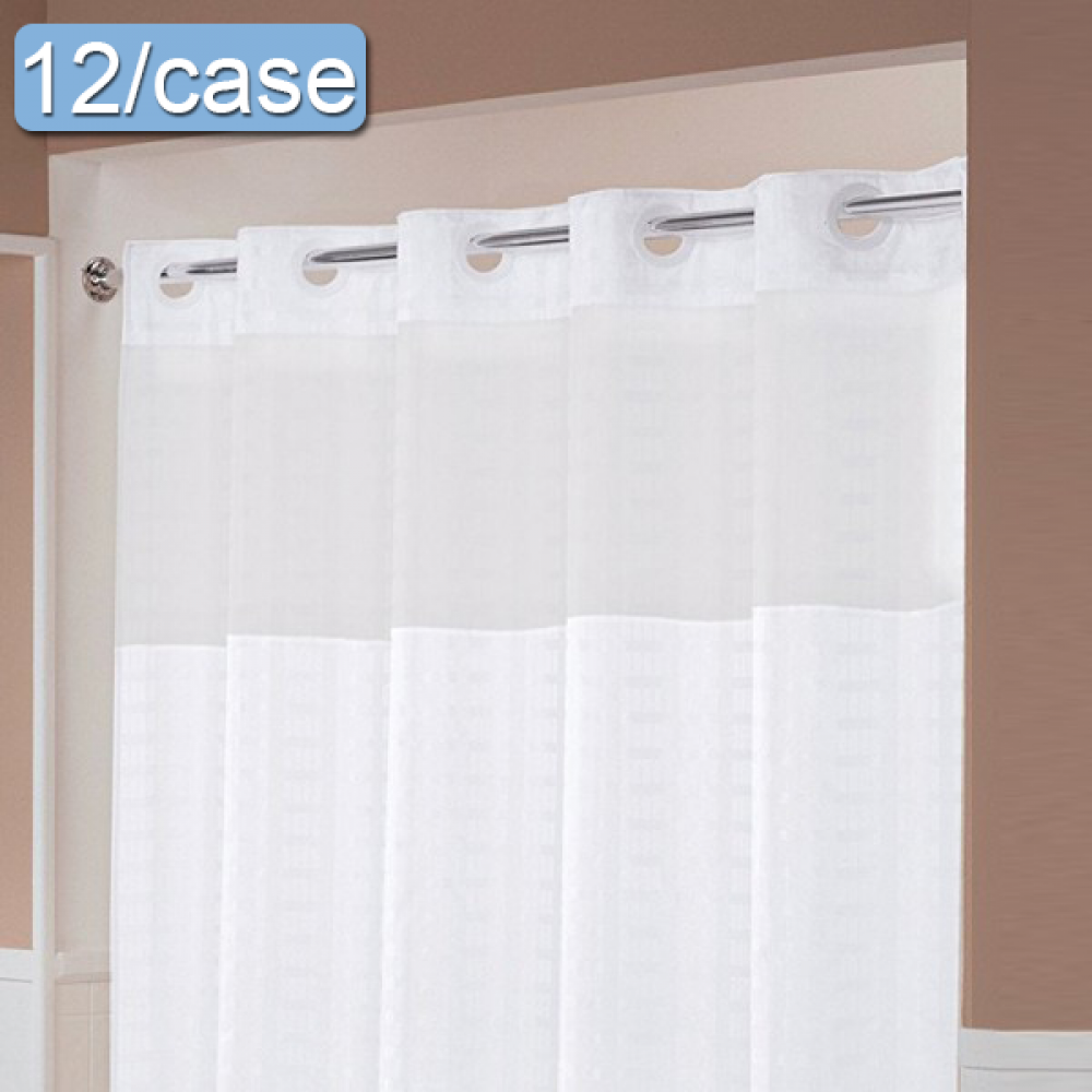 Hookless Shower Curtains Patterned With Window And Liner