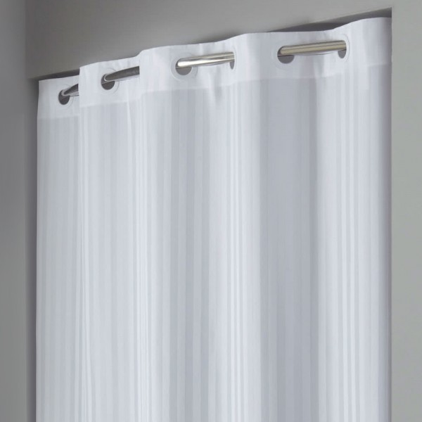 Hookless striped shower curtain